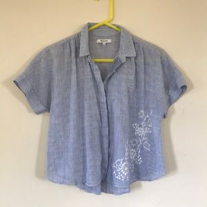 Madewell embroidered crop button down